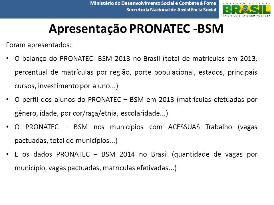 Ministério do Desenvolvimento Social e Combate à Fome Secretaria Nacional de Assistência Social Apresentação PRONATEC -BSM Foram apresentados: O balanço do PRONATEC- BSM 2013 no Brasil (total de matrículas em 2013, percentual de matrículas por região, porte populacional, estados, principais cursos, investimento por aluno...) O perfil dos alunos do PRONATEC – BSM em 2013 (matrículas efetuadas por gênero, idade, por cor/raça/etnia, escolaridade...) O PRONATEC – BSM nos municípios com ACESSUAS Trabalho (vagas pactuadas, total de municípios...) E os dados PRONATEC – BSM 2014 no Brasil (quantidade de vagas por município, vagas pactuadas, matrículas efetivadas...)