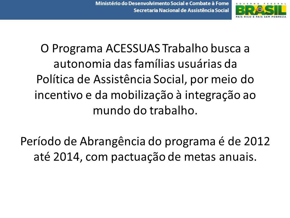 O Programa ACESSUAS Trabalho busca a autonomia das famílias usuárias da Política de Assistência Social, por meio do incentivo e da mobilização à integração ao mundo do trabalho.