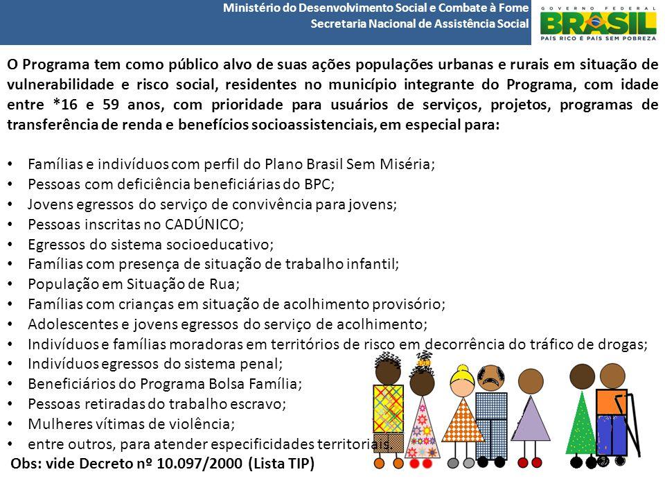 Ministério do Desenvolvimento Social e Combate à Fome Secretaria Nacional de Assistência Social O Programa tem como público alvo de suas ações populações urbanas e rurais em situação de vulnerabilidade e risco social, residentes no município integrante do Programa, com idade entre *16 e 59 anos, com prioridade para usuários de serviços, projetos, programas de transferência de renda e benefícios socioassistenciais, em especial para: Famílias e indivíduos com perfil do Plano Brasil Sem Miséria; Pessoas com deficiência beneficiárias do BPC; Jovens egressos do serviço de convivência para jovens; Pessoas inscritas no CADÚNICO; Egressos do sistema socioeducativo; Famílias com presença de situação de trabalho infantil; População em Situação de Rua; Famílias com crianças em situação de acolhimento provisório; Adolescentes e jovens egressos do serviço de acolhimento; Indivíduos e famílias moradoras em territórios de risco em decorrência do tráfico de drogas; Indivíduos egressos do sistema penal; Beneficiários do Programa Bolsa Família; Pessoas retiradas do trabalho escravo; Mulheres vítimas de violência; entre outros, para atender especificidades territoriais.