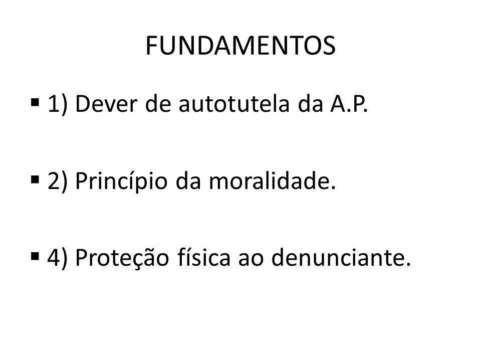FUNDAMENTOS 1) Dever de autotutela da A.P.2) Princípio da moralidade.