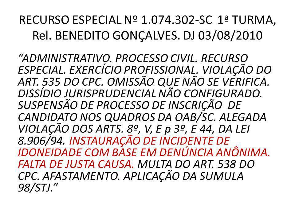 RECURSO ESPECIAL Nº 1.074.302-SC 1ª TURMA, Rel.BENEDITO GONÇALVES.
