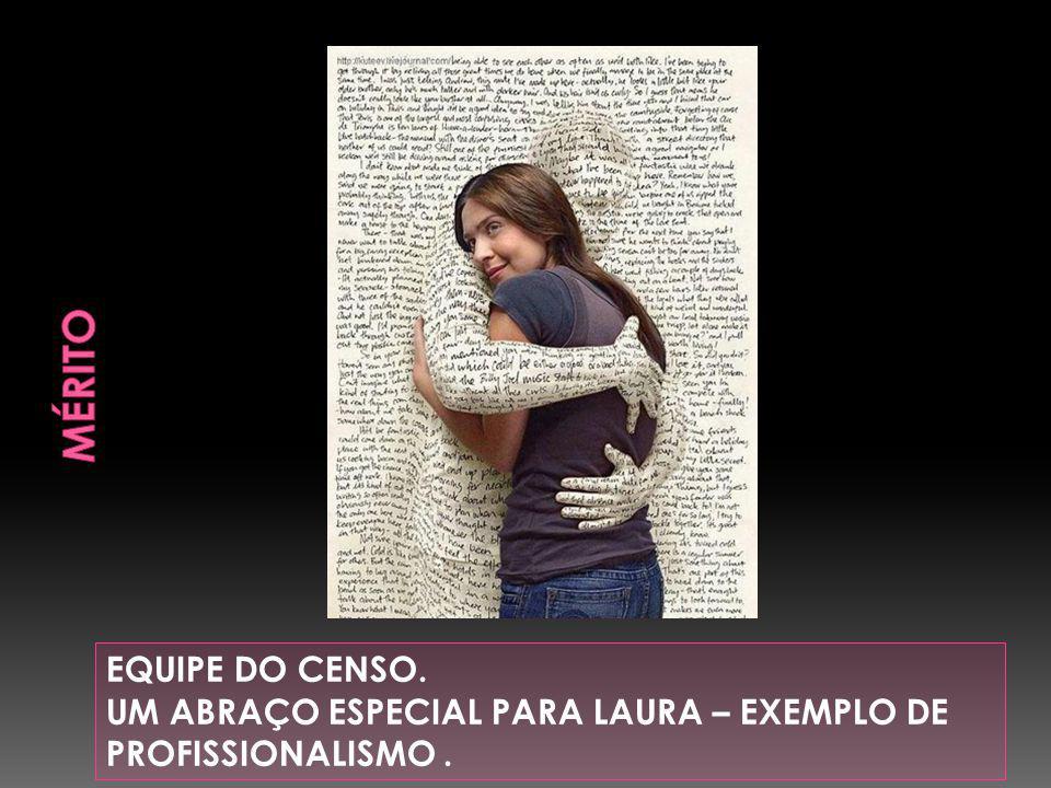 EQUIPE DO CENSO. UM ABRAÇO ESPECIAL PARA LAURA – EXEMPLO DE PROFISSIONALISMO.