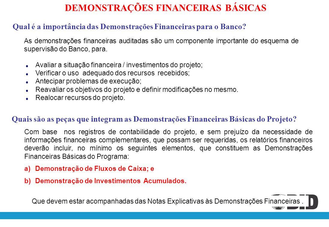 Qual é a importância das Demonstrações Financeiras para o Banco? As demonstrações financeiras auditadas são um componente importante do esquema de sup