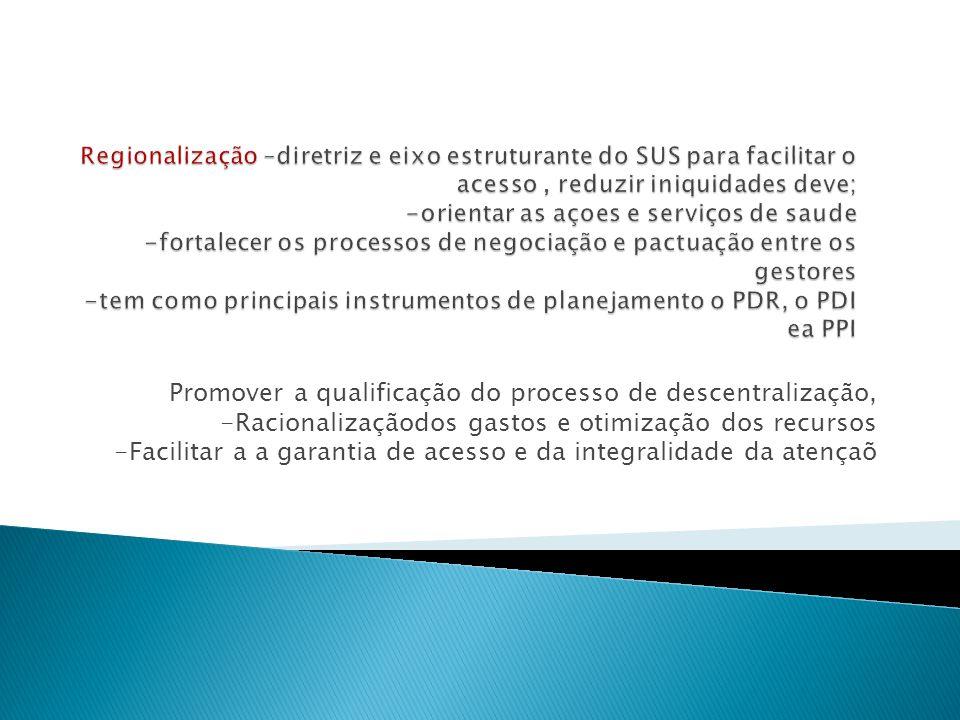 Promover a qualificação do processo de descentralização, -Racionalizaçãodos gastos e otimização dos recursos -Facilitar a a garantia de acesso e da in