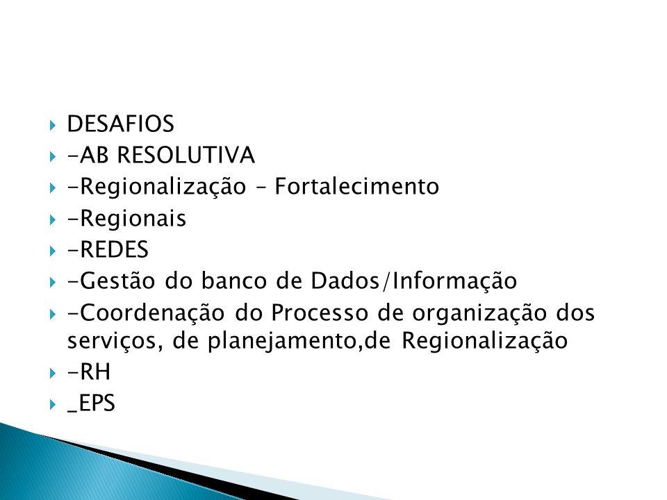 DESAFIOS -AB RESOLUTIVA -Regionalização – Fortalecimento -Regionais -REDES -Gestão do banco de Dados/Informação -Coordenação do Processo de organizaçã