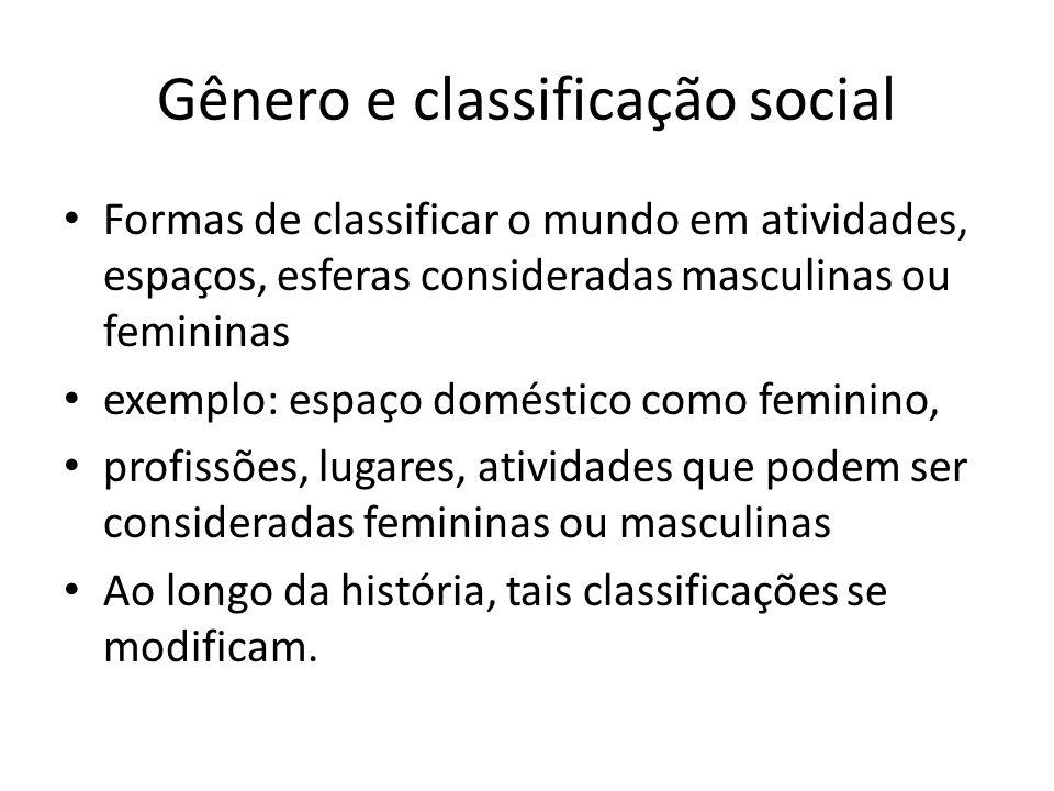 Gênero e classificação social Formas de classificar o mundo em atividades, espaços, esferas consideradas masculinas ou femininas exemplo: espaço domés