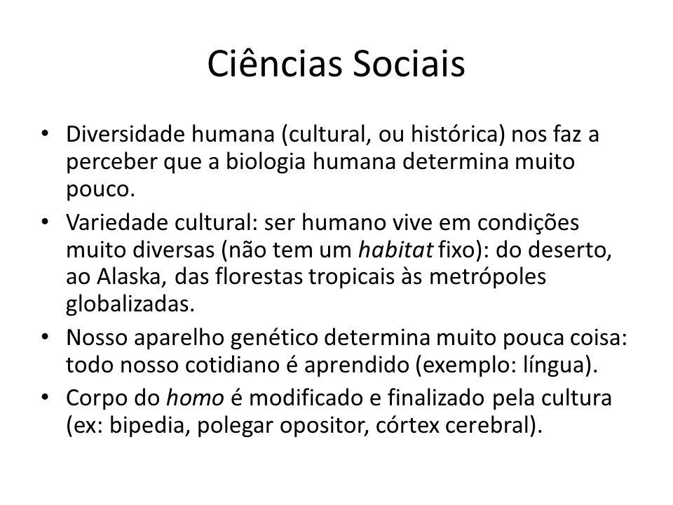 Ciências Sociais Diversidade humana (cultural, ou histórica) nos faz a perceber que a biologia humana determina muito pouco. Variedade cultural: ser h