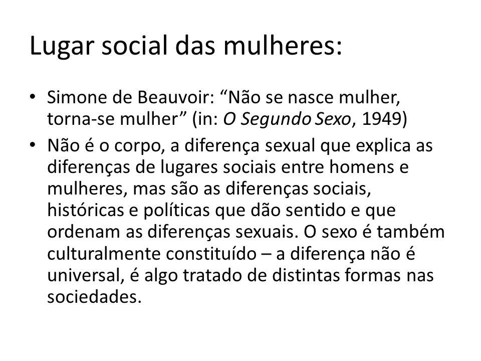 Lugar social das mulheres: Simone de Beauvoir: Não se nasce mulher, torna-se mulher (in: O Segundo Sexo, 1949) Não é o corpo, a diferença sexual que explica as diferenças de lugares sociais entre homens e mulheres, mas são as diferenças sociais, históricas e políticas que dão sentido e que ordenam as diferenças sexuais.