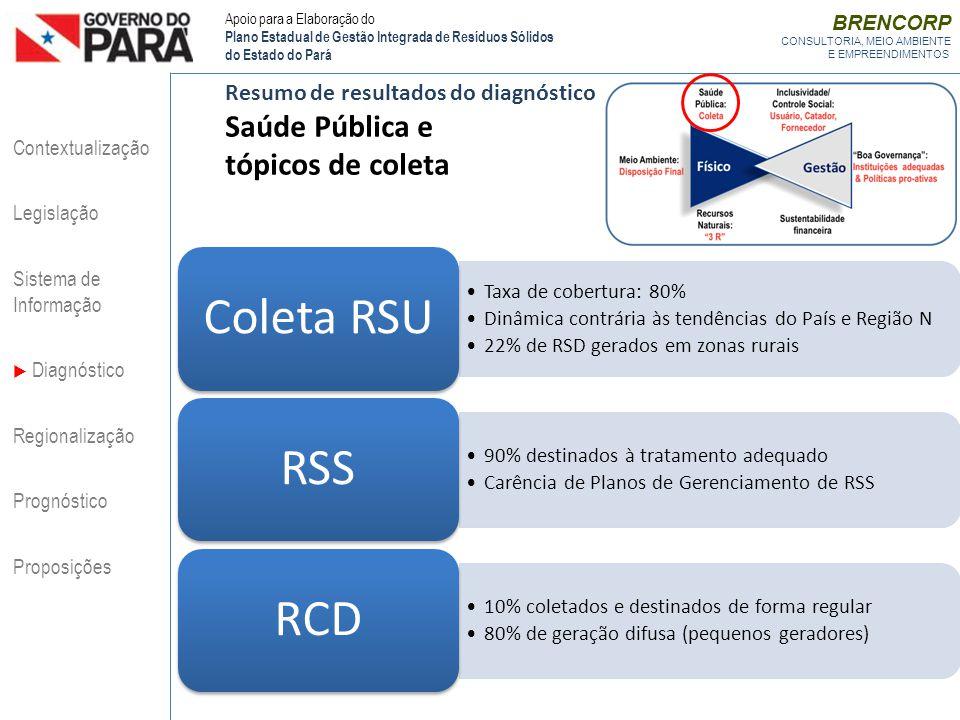 BRENCORP CONSULTORIA, MEIO AMBIENTE E EMPREENDIMENTOS Resumo de resultados do diagnóstico Saúde Pública e tópicos de coleta Taxa de cobertura: 80% Din
