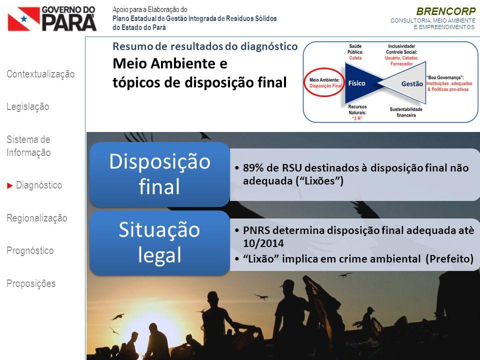 BRENCORP CONSULTORIA, MEIO AMBIENTE E EMPREENDIMENTOS Resumo de resultados do diagnóstico Meio Ambiente e tópicos de disposição final 89% de RSU desti