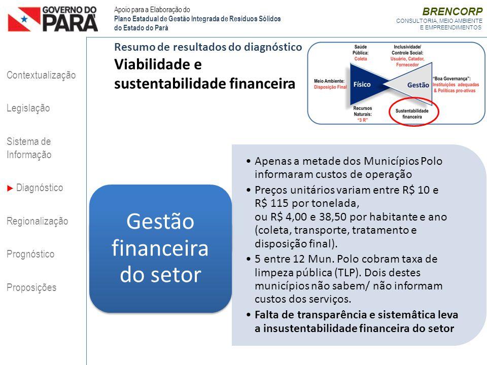BRENCORP CONSULTORIA, MEIO AMBIENTE E EMPREENDIMENTOS Resumo de resultados do diagnóstico Viabilidade e sustentabilidade financeira Apenas a metade do