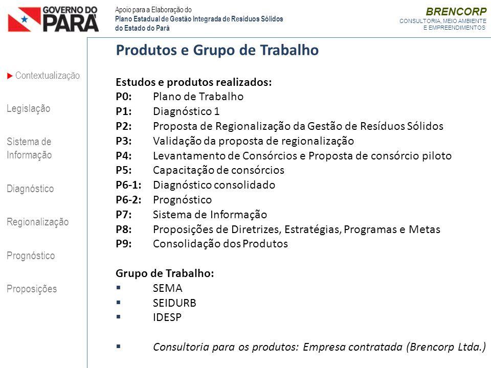 BRENCORP CONSULTORIA, MEIO AMBIENTE E EMPREENDIMENTOS Produtos e Grupo de Trabalho Estudos e produtos realizados: P0:Plano de Trabalho P1:Diagnóstico