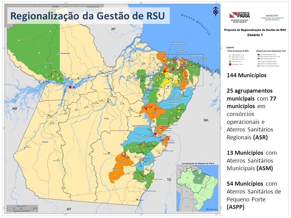 Regionalização da Gestão de RSU 144 Municípios 25 agrupamentos municipais com 77 municípios em consórcios operacionais e Aterros Sanitários Regionais