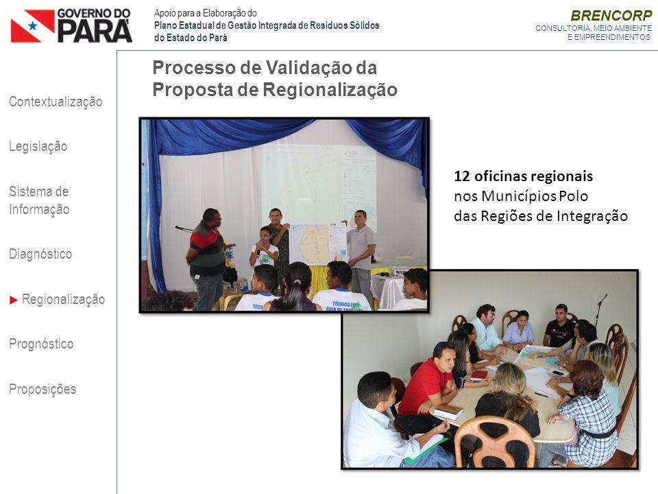 BRENCORP CONSULTORIA, MEIO AMBIENTE E EMPREENDIMENTOS Processo de Validação da Proposta de Regionalização Contextualização Legislação Sistema de Infor