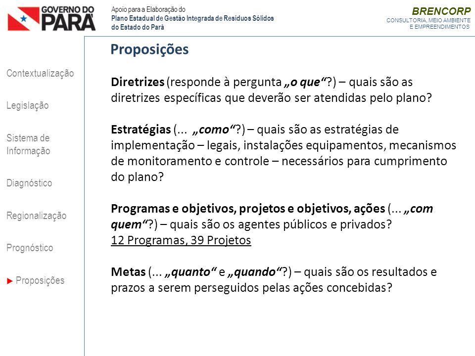 Proposições Diretrizes (responde à pergunta o que?) – quais são as diretrizes específicas que deverão ser atendidas pelo plano? Estratégias (... como?