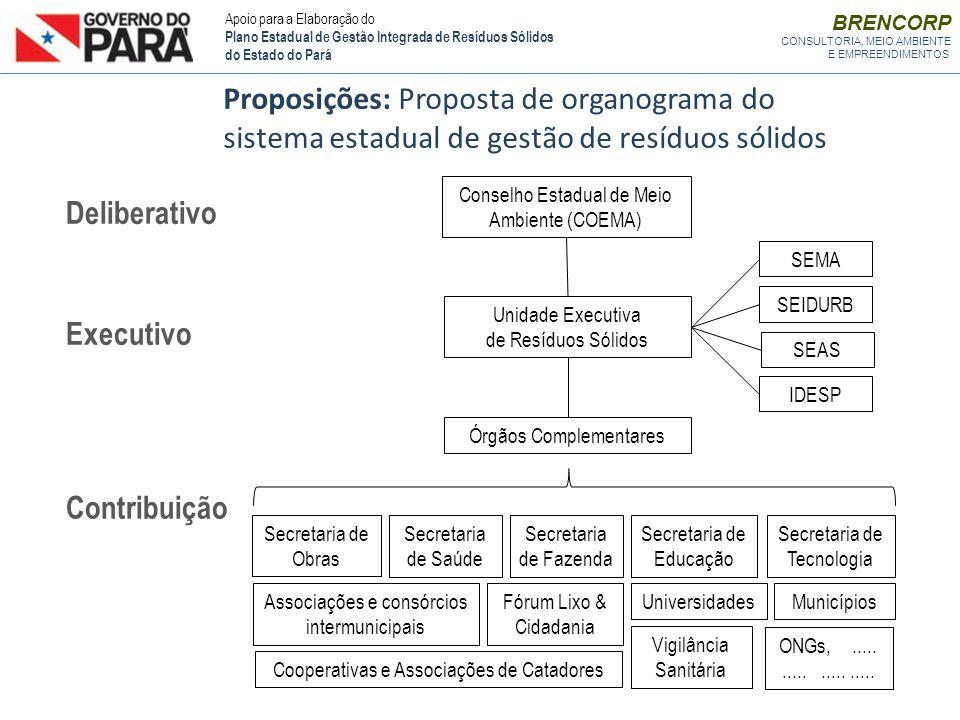 Proposições: Proposta de organograma do sistema estadual de gestão de resíduos sólidos Conselho Estadual de Meio Ambiente (COEMA) Unidade Executiva de