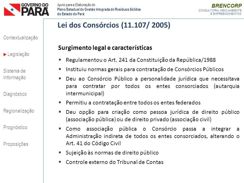 BRENCORP CONSULTORIA, MEIO AMBIENTE E EMPREENDIMENTOS Regulamentou o Art. 241 da Constituição da República/1988 Instituiu normas gerais para contrataç
