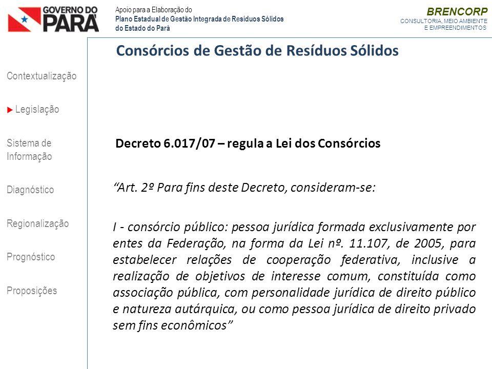 BRENCORP CONSULTORIA, MEIO AMBIENTE E EMPREENDIMENTOS Decreto 6.017/07 – regula a Lei dos Consórcios Art. 2º Para fins deste Decreto, consideram-se: I