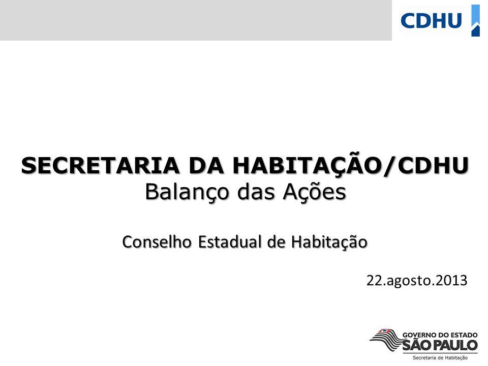 SECRETARIA DA HABITAÇÃO/CDHU Balanço das Ações Conselho Estadual de Habitação 22.agosto.2013