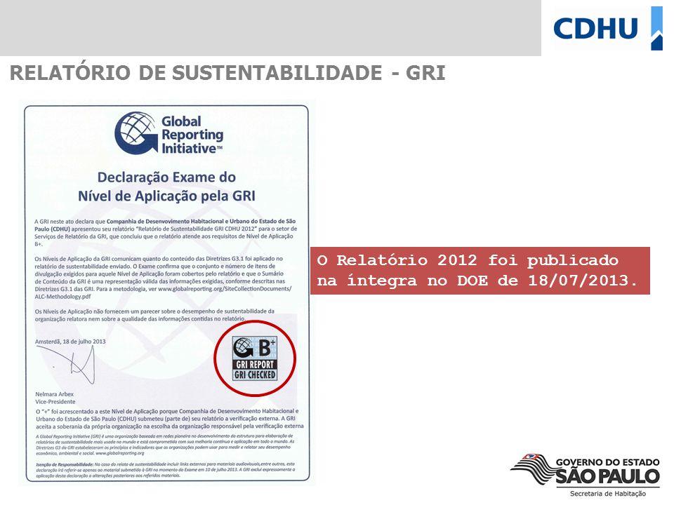 RELATÓRIO DE SUSTENTABILIDADE - GRI O Relatório 2012 foi publicado na íntegra no DOE de 18/07/2013.