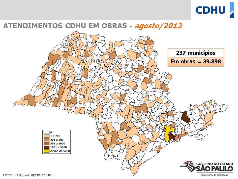 Em obras = 39.898 237 municípios ATENDIMENTOS CDHU EM OBRAS - agosto/2013 Fonte: CDHU/GGI, agosto de 2013.