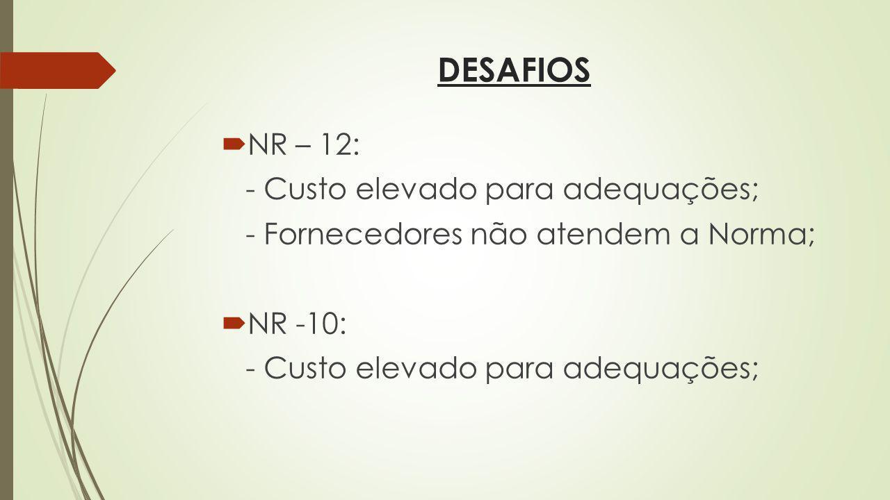 DESAFIOS NR – 12: - Custo elevado para adequações; - Fornecedores não atendem a Norma; NR -10: - Custo elevado para adequações;