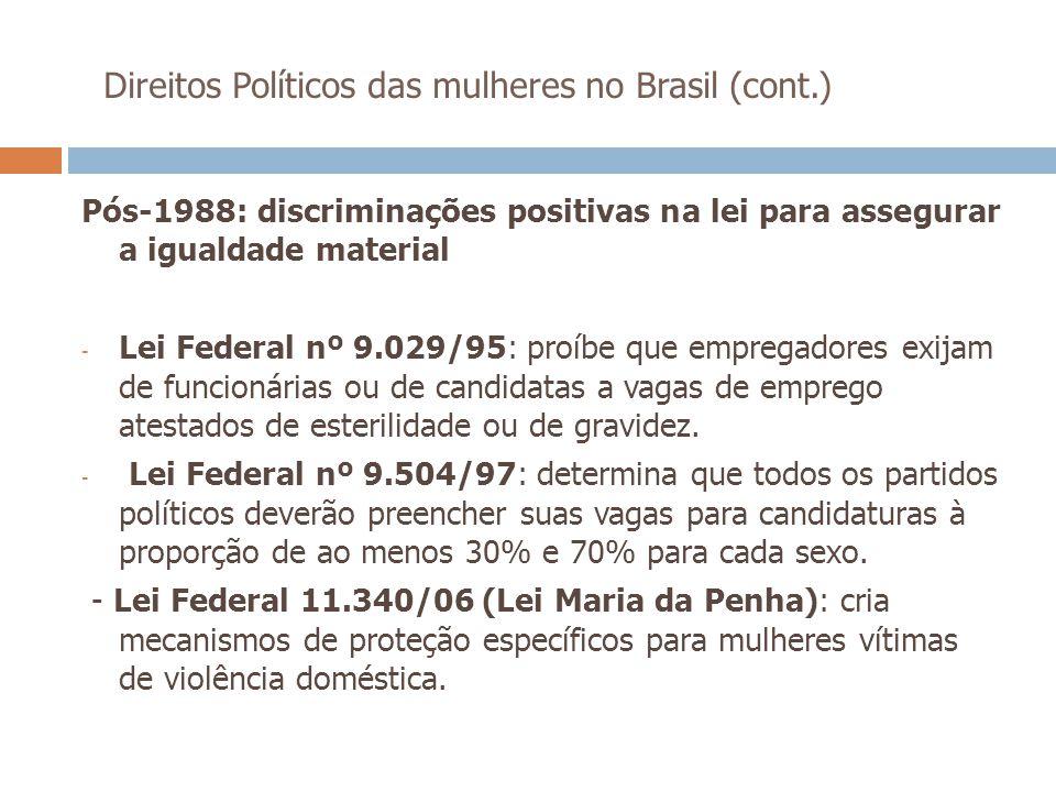 Direitos Políticos das mulheres no Brasil (cont.) Pós-1988: discriminações positivas na lei para assegurar a igualdade material - Lei Federal nº 9.029