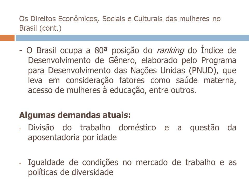 Os Direitos Econômicos, Sociais e Culturais das mulheres no Brasil (cont.) - O Brasil ocupa a 80ª posição do ranking do Índice de Desenvolvimento de G
