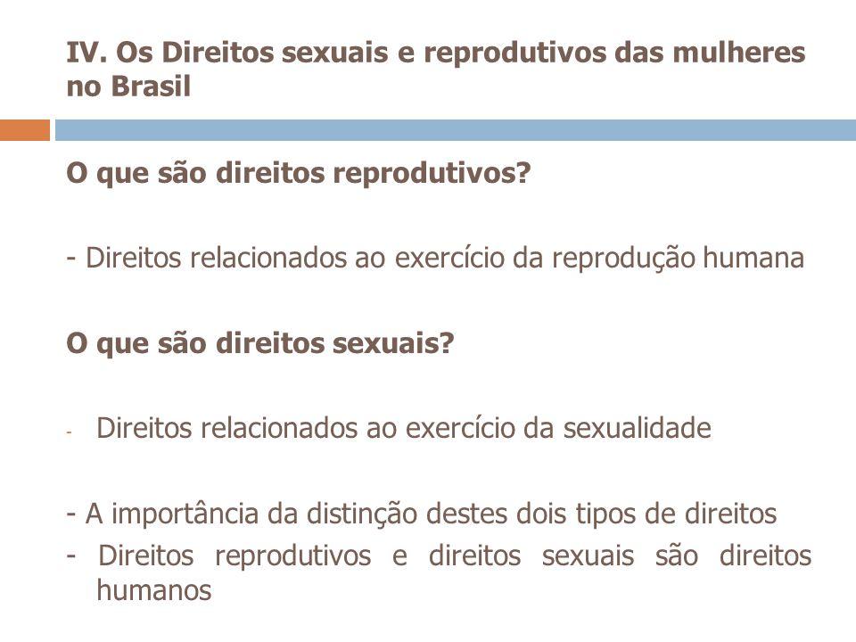 IV. Os Direitos sexuais e reprodutivos das mulheres no Brasil O que são direitos reprodutivos? - Direitos relacionados ao exercício da reprodução huma