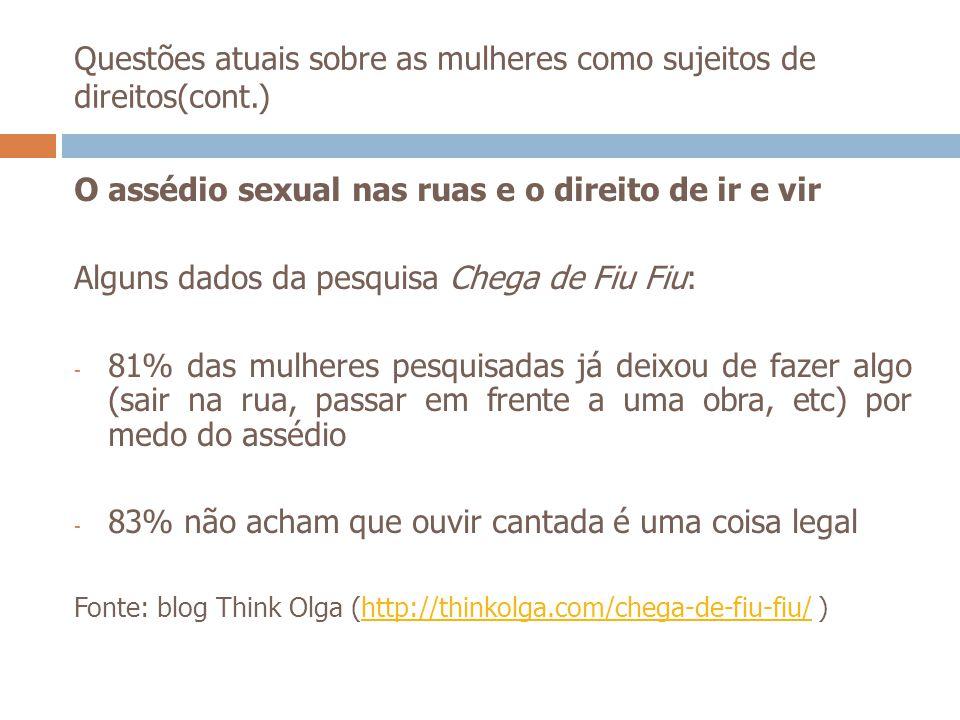 Questões atuais sobre as mulheres como sujeitos de direitos(cont.) O assédio sexual nas ruas e o direito de ir e vir Alguns dados da pesquisa Chega de