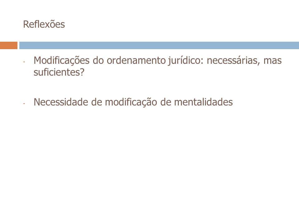 Reflexões - Modificações do ordenamento jurídico: necessárias, mas suficientes? - Necessidade de modificação de mentalidades