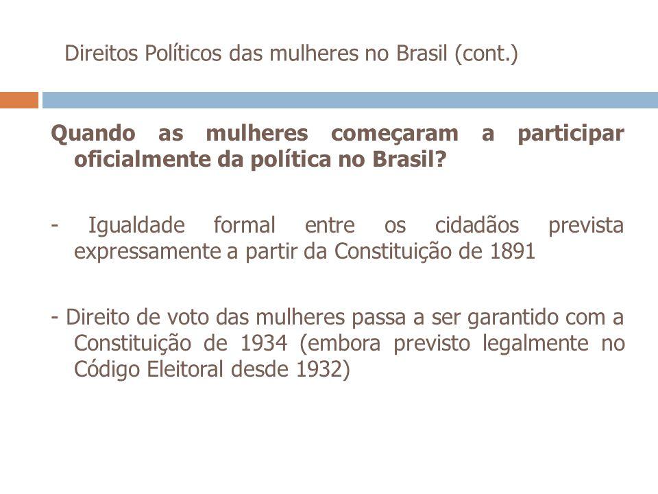 Direitos Políticos das mulheres no Brasil (cont.) Quando as mulheres começaram a participar oficialmente da política no Brasil? - Igualdade formal ent