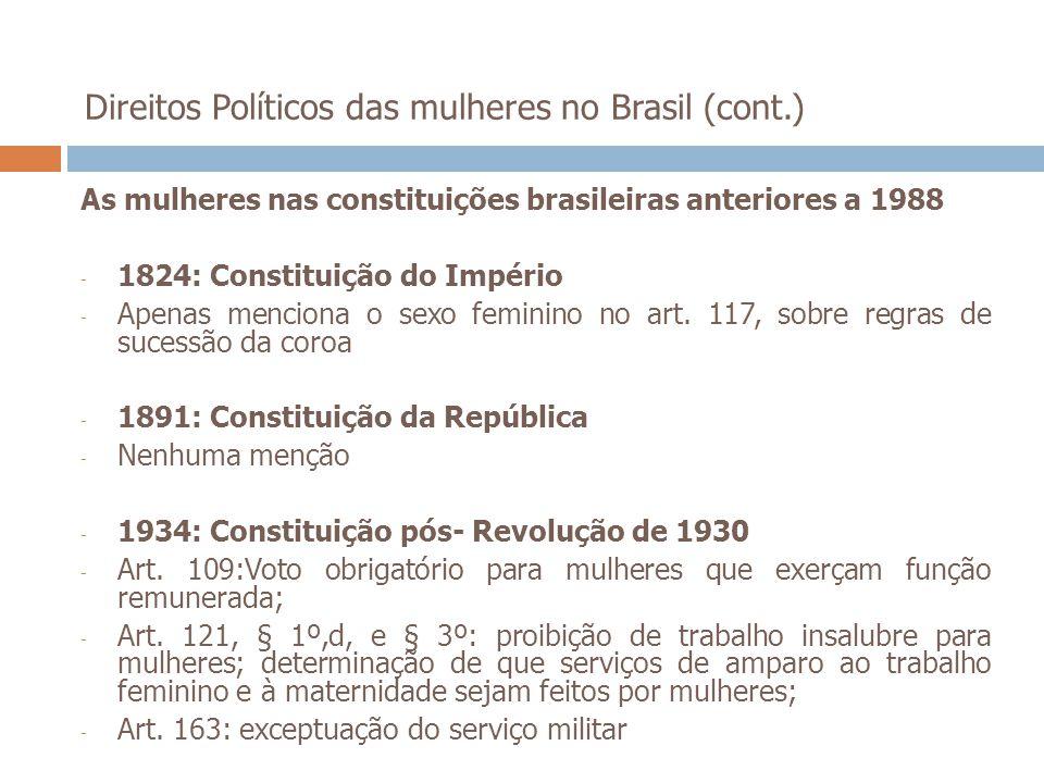 Direitos Políticos das mulheres no Brasil (cont.) As mulheres nas constituições brasileiras anteriores a 1988 - 1824: Constituição do Império - Apenas