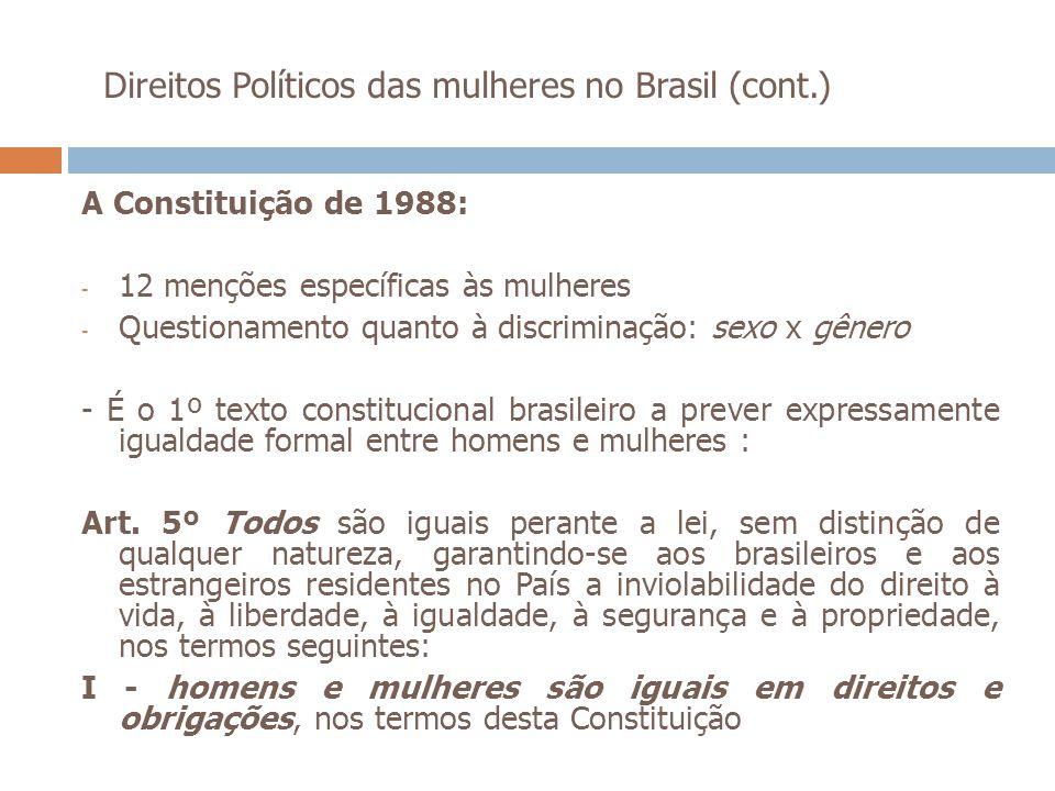 Direitos Políticos das mulheres no Brasil (cont.) A Constituição de 1988: - 12 menções específicas às mulheres - Questionamento quanto à discriminação
