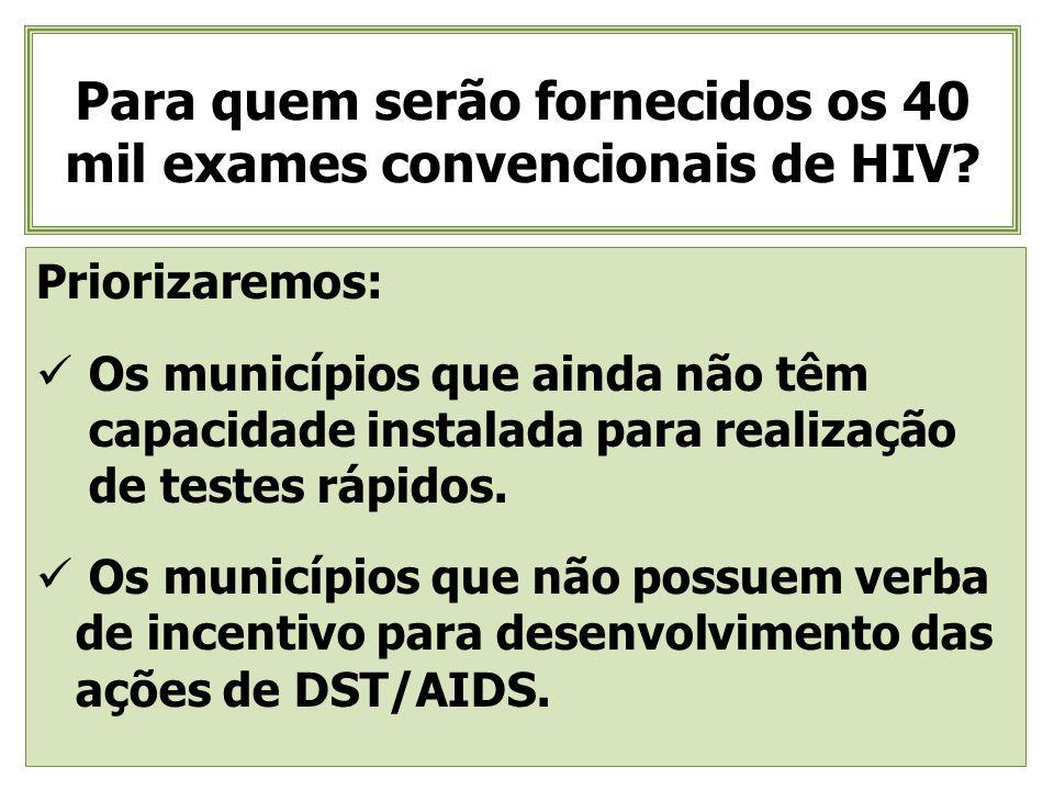 Para quem serão fornecidos os 40 mil exames convencionais de HIV? Priorizaremos: Os municípios que ainda não têm capacidade instalada para realização