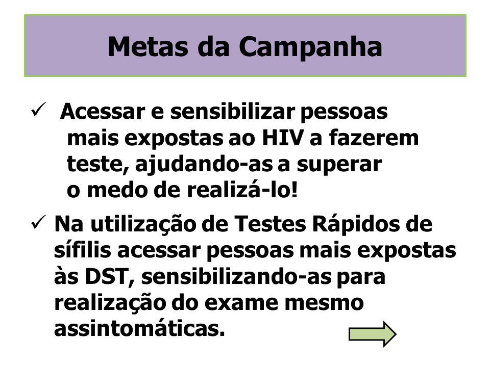 Acessar e sensibilizar pessoas mais expostas ao HIV a fazerem teste, ajudando-as a superar o medo de realizá-lo! Na utilização de Testes Rápidos de sí