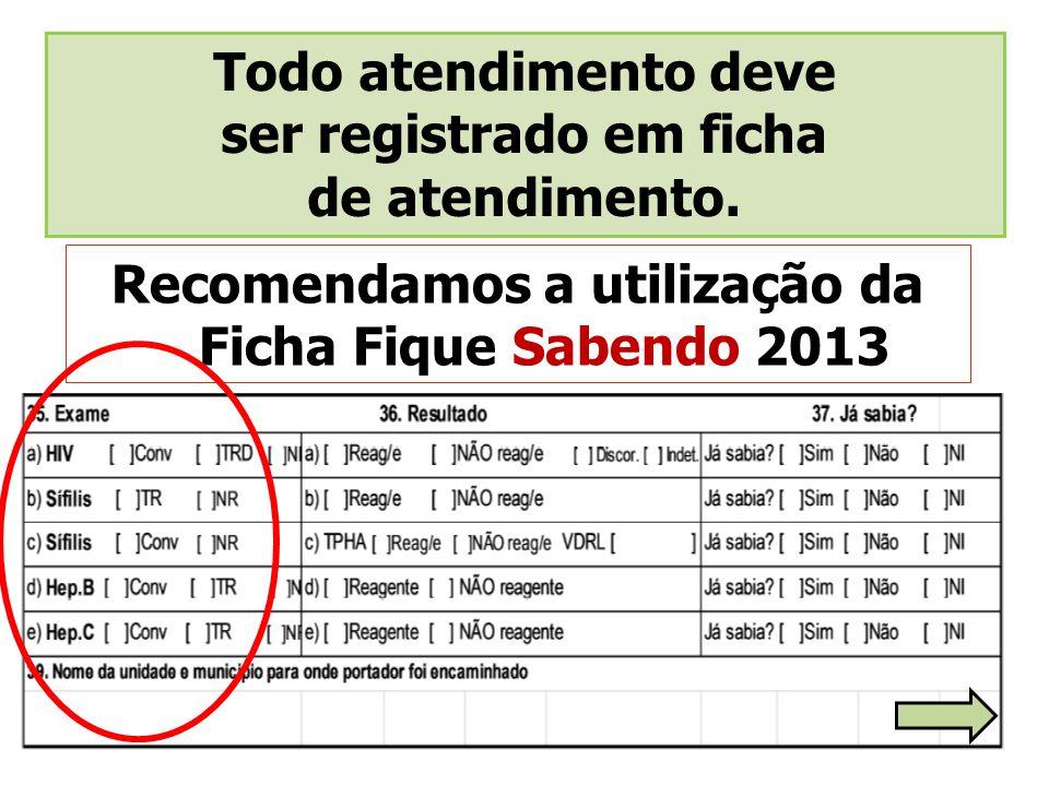 Recomendamos a utilização da Ficha Fique Sabendo 2013 Todo atendimento deve ser registrado em ficha de atendimento.