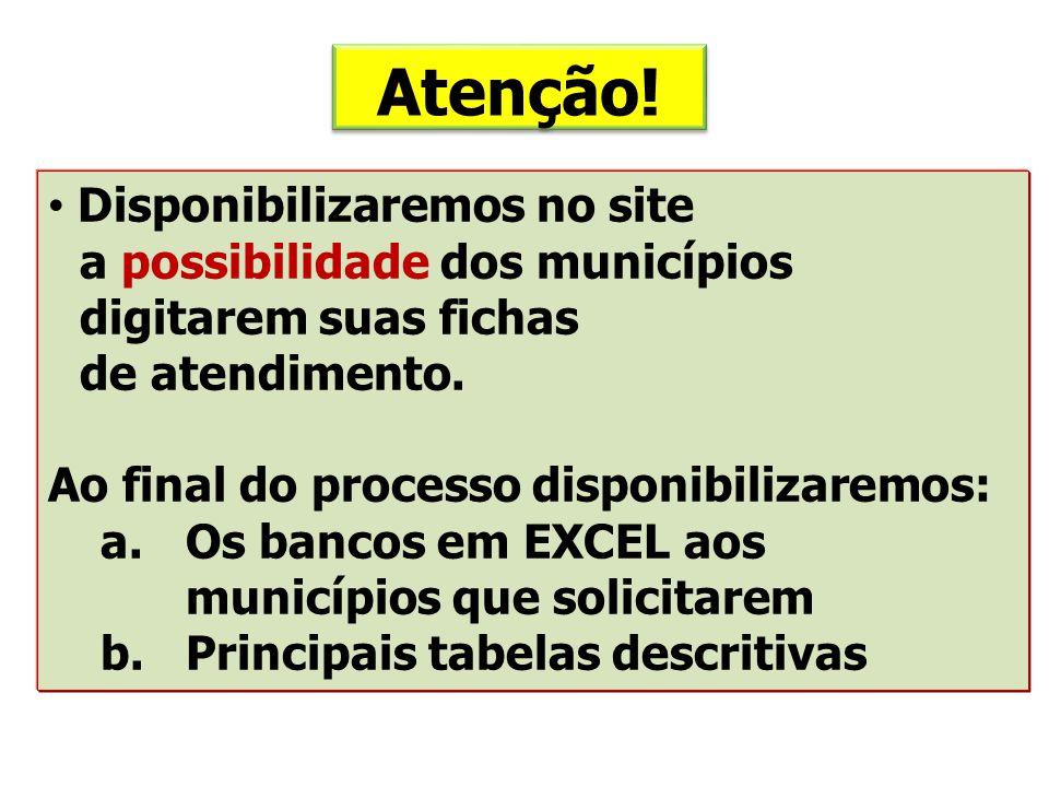 Atenção! Disponibilizaremos no site a possibilidade dos municípios digitarem suas fichas de atendimento. Ao final do processo disponibilizaremos: a.Os