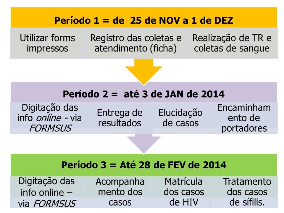 Período 3 = Até 28 de FEV de 2014 Digitação das info online – via FORMSUS Acompanha mento dos casos Matrícula dos casos de HIV Tratamento dos casos de