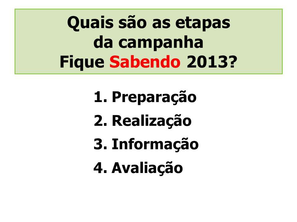 Quais são as etapas da campanha Fique Sabendo 2013? 1. Preparação 2. Realização 3. Informação 4. Avaliação