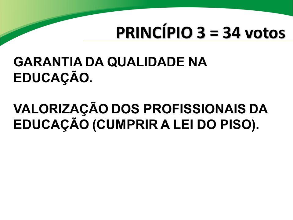 PRINCÍPIO 3 = 34 votos GARANTIA DA QUALIDADE NA EDUCAÇÃO. VALORIZAÇÃO DOS PROFISSIONAIS DA EDUCAÇÃO (CUMPRIR A LEI DO PISO).