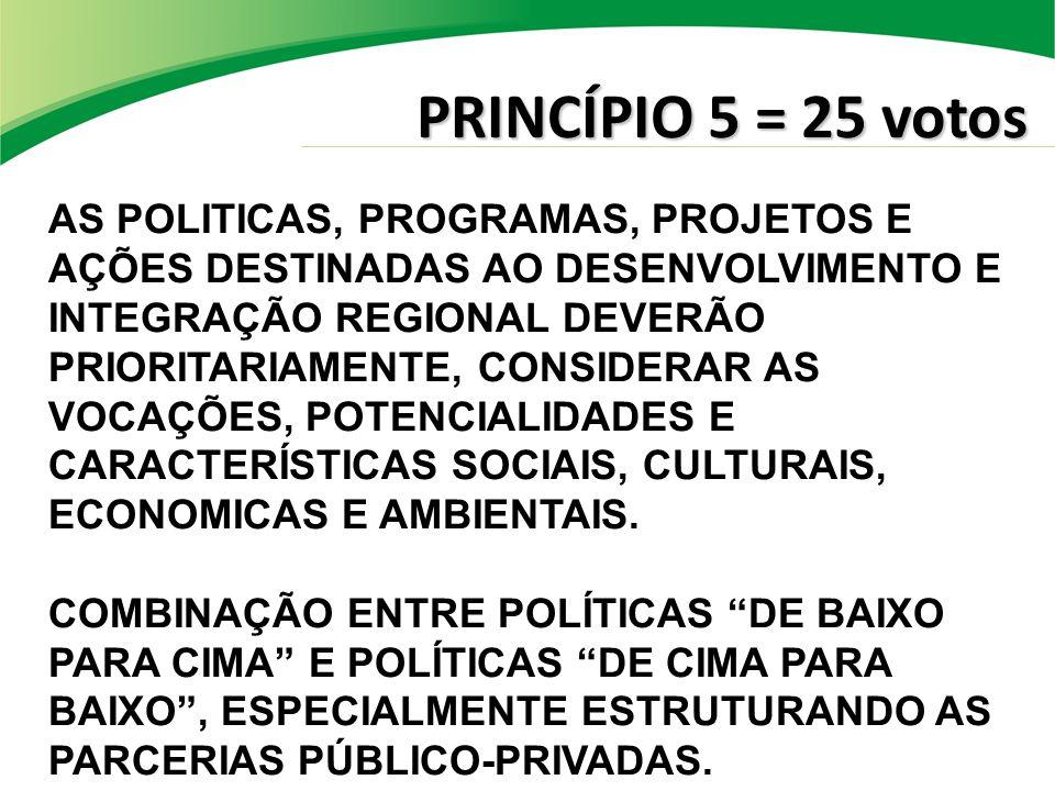 PRINCÍPIO 5 = 25 votos AS POLITICAS, PROGRAMAS, PROJETOS E AÇÕES DESTINADAS AO DESENVOLVIMENTO E INTEGRAÇÃO REGIONAL DEVERÃO PRIORITARIAMENTE, CONSIDERAR AS VOCAÇÕES, POTENCIALIDADES E CARACTERÍSTICAS SOCIAIS, CULTURAIS, ECONOMICAS E AMBIENTAIS.