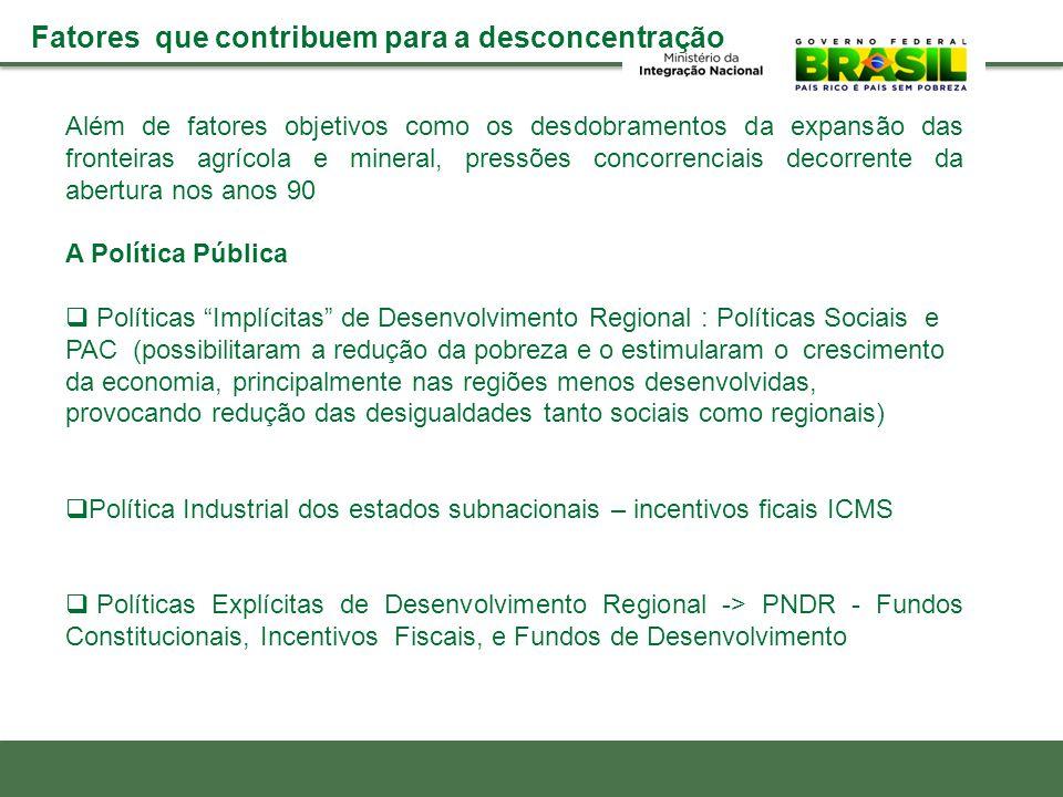 Além de fatores objetivos como os desdobramentos da expansão das fronteiras agrícola e mineral, pressões concorrenciais decorrente da abertura nos ano