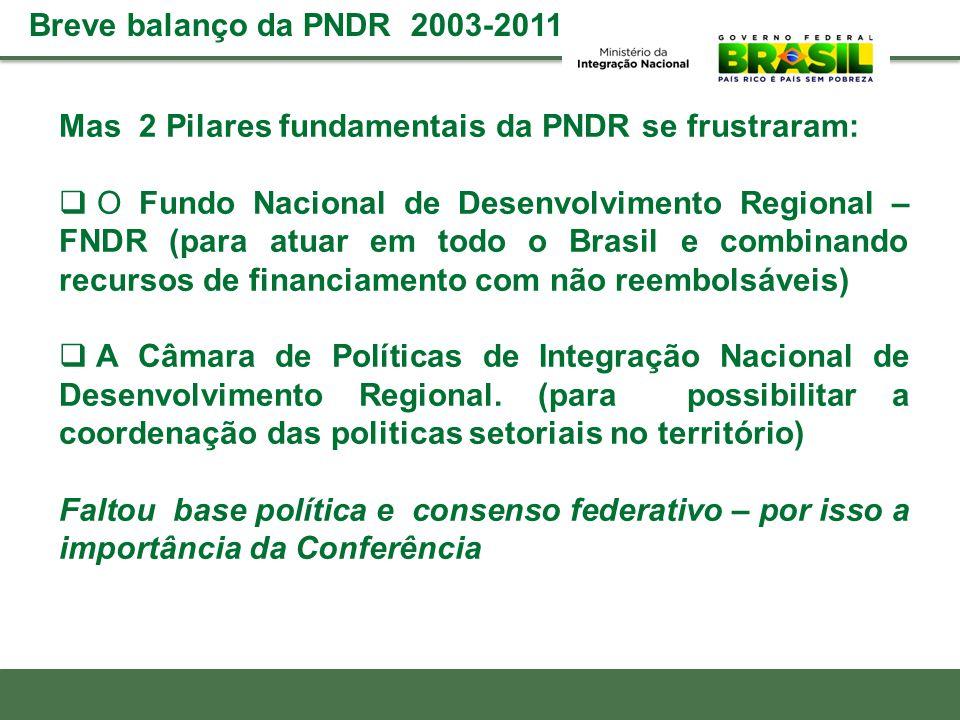Mas 2 Pilares fundamentais da PNDR se frustraram: O Fundo Nacional de Desenvolvimento Regional – FNDR (para atuar em todo o Brasil e combinando recurs