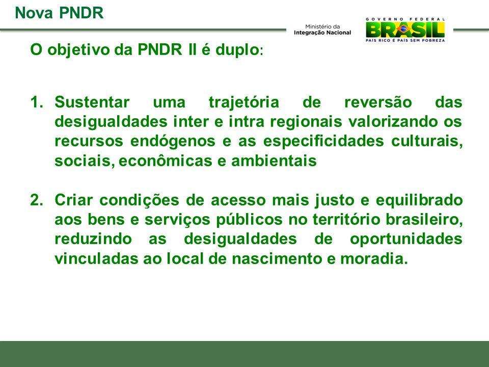 O objetivo da PNDR II é duplo : 1.Sustentar uma trajetória de reversão das desigualdades inter e intra regionais valorizando os recursos endógenos e a