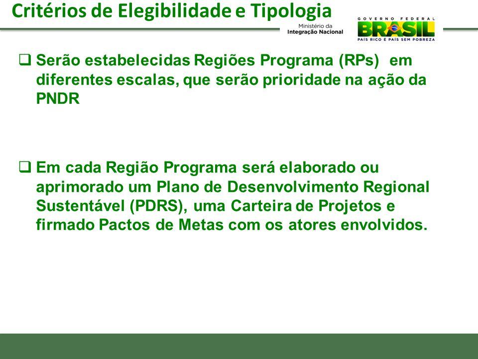 Critérios de Elegibilidade e Tipologia Serão estabelecidas Regiões Programa (RPs) em diferentes escalas, que serão prioridade na ação da PNDR Em cada