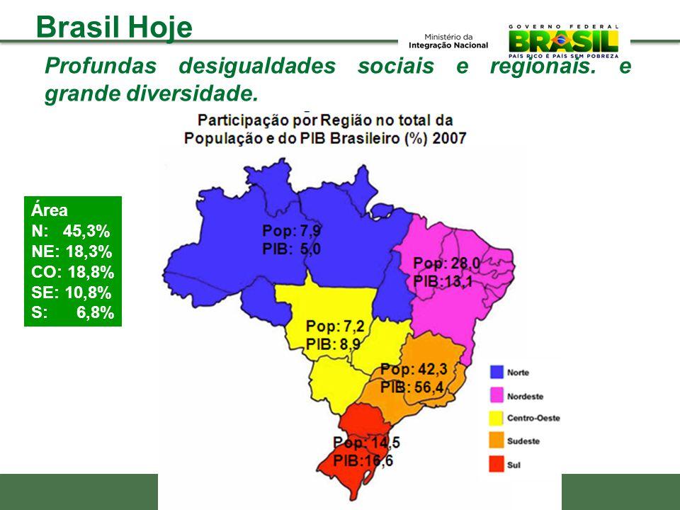 Profundas desigualdades sociais e regionais. e grande diversidade. Área N: 45,3% NE: 18,3% CO: 18,8% SE: 10,8% S: 6,8% Brasil Hoje