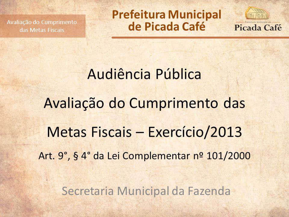 Audiência Pública Referente ao Exercício de 2013 RECEITAS Avaliação do Cumprimento das Metas Fiscais