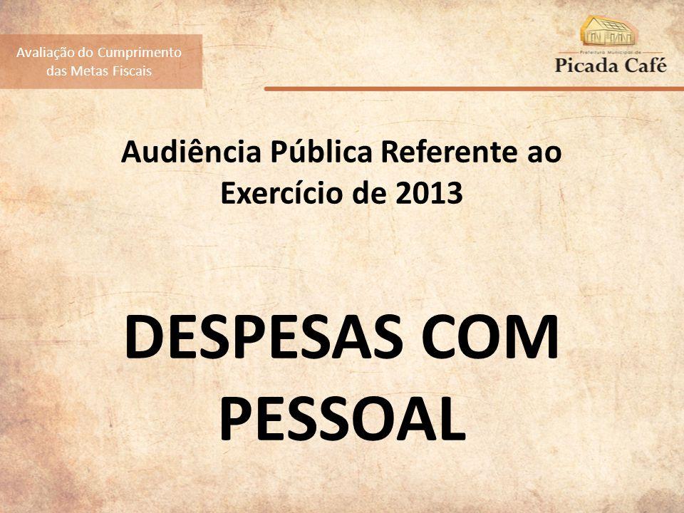 Audiência Pública Referente ao Exercício de 2013 DESPESAS COM PESSOAL Avaliação do Cumprimento das Metas Fiscais