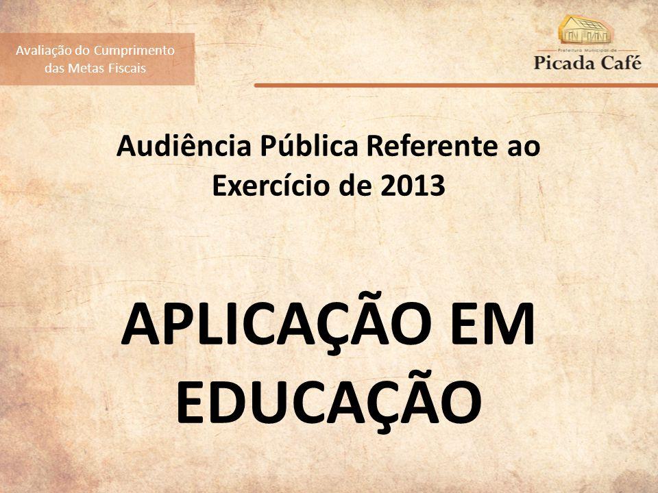 Audiência Pública Referente ao Exercício de 2013 APLICAÇÃO EM EDUCAÇÃO Avaliação do Cumprimento das Metas Fiscais